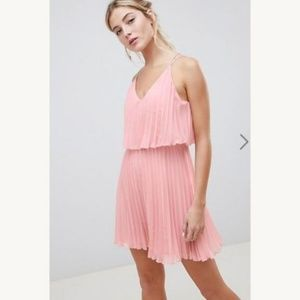ASOS Pink pleated cocktail dress